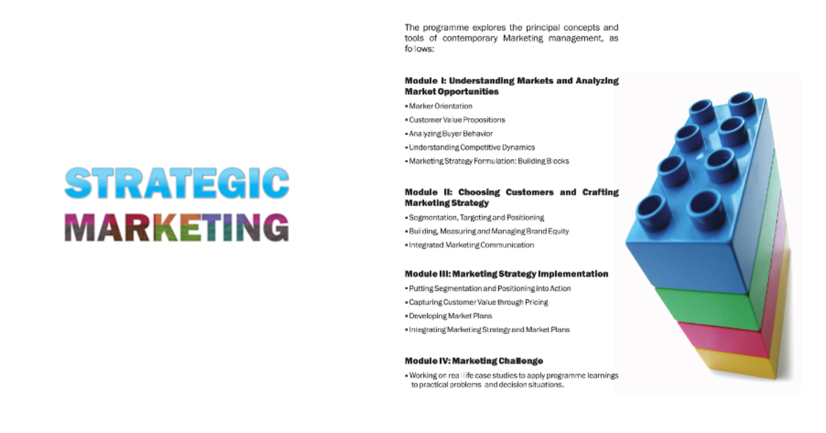 Brochure of Strategic Marketing Program, circa 2010. Had all the ingredients of success, except product-market-fit!