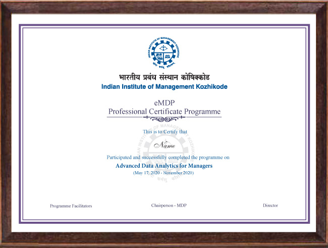 Professional Certificate Programme in Advanced Data Analytics for Managers - Certificate