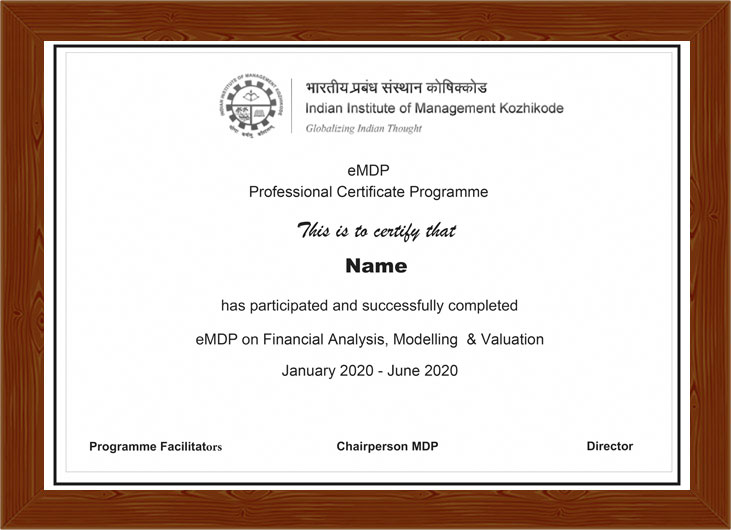 Professional Certificate Programme in Financial Analysis, Modelling and Valuation - Certificate