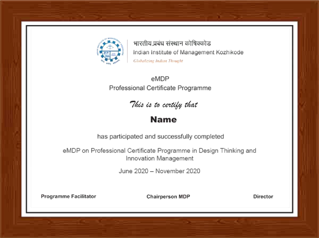 Professional Certificate Programme in Design Thinking and Innovation Management - Certificate