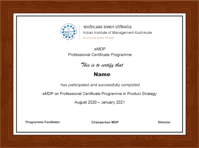 Professional Certificate Programme In Product Strategy - Certificate