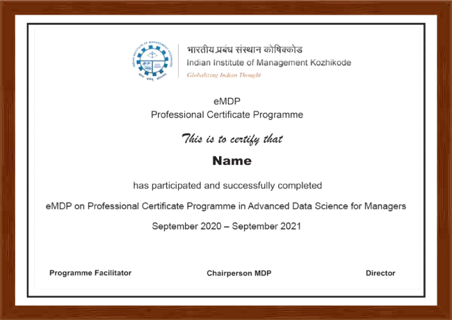 Professional Certificate Programme in Advanced Data Science for Managers - Certificate
