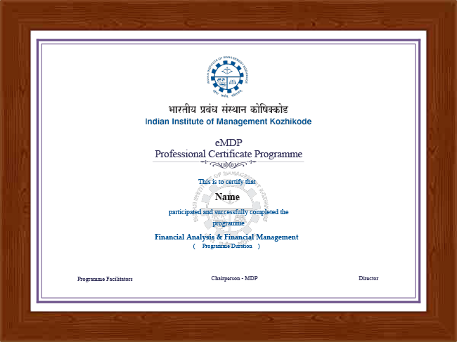Professional Certificate Programme in Financial Analysis and Financial Management - Certificate