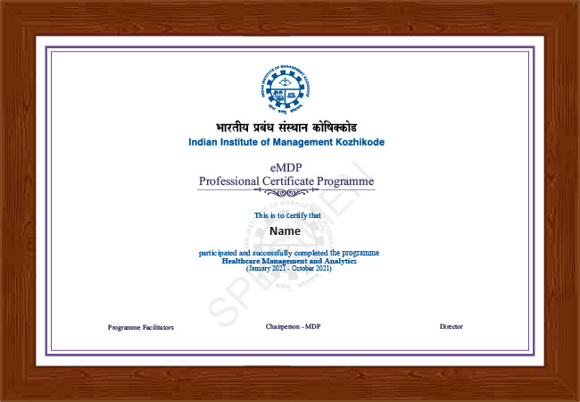 Professional Certificate Programme in Healthcare Management and Analytics - Certificate