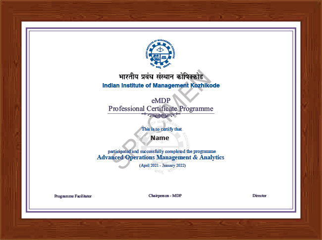 Professional Certificate Programme in Advanced Operations Management & Analytics - Certificate