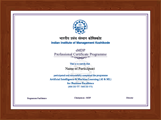 Professional Certificate Programme in AI & ML for Business Excellence - Certificate