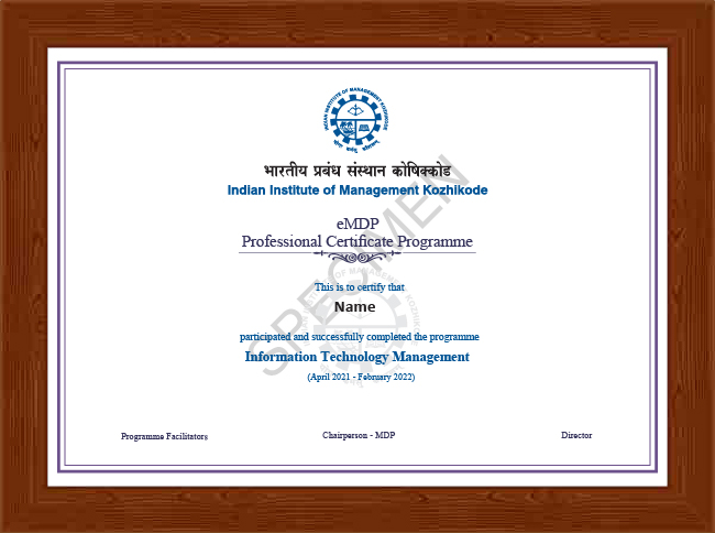 Professional Certificate Programme in Information Technology Management - Certificate