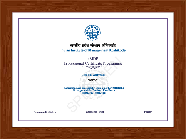 Professional Certificate Programme in Management for Business Excellence - Certificate